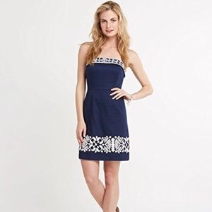 Vineyard Vines Navy Blue Strapless Dress